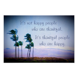 "Hawaiian palm trees ""thankful"" quote photo poster"