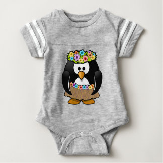 Hawaiian Penguin With flowers and grass skirt Baby Bodysuit