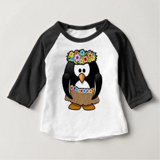 Hawaiian Penguin With flowers and grass skirt Baby T-Shirt