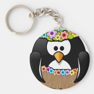 Hawaiian Penguin With flowers and grass skirt Basic Round Button Keychain