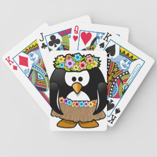 Hawaiian Penguin With flowers and grass skirt Bicycle Playing Cards
