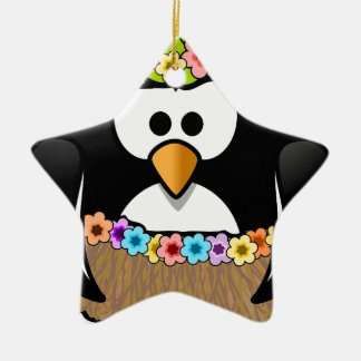 Hawaiian Penguin With flowers and grass skirt Ceramic Star Ornament