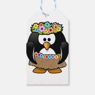 Hawaiian Penguin With flowers and grass skirt Gift Tags