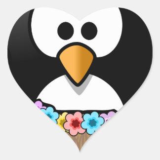 Hawaiian Penguin With flowers and grass skirt Heart Sticker