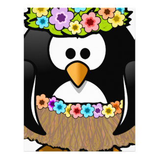 Hawaiian Penguin With flowers and grass skirt Letterhead