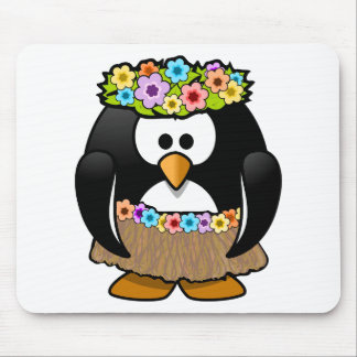 Hawaiian Penguin With flowers and grass skirt Mouse Pad