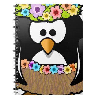 Hawaiian Penguin With flowers and grass skirt Notebook
