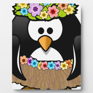 Hawaiian Penguin With flowers and grass skirt Plaque