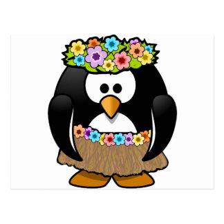 Hawaiian Penguin With flowers and grass skirt Postcard