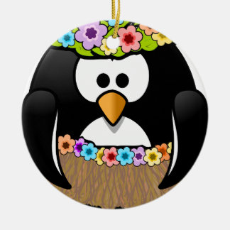 Hawaiian Penguin With flowers and grass skirt Round Ceramic Ornament