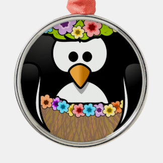 Hawaiian Penguin With flowers and grass skirt Silver-Colored Round Ornament