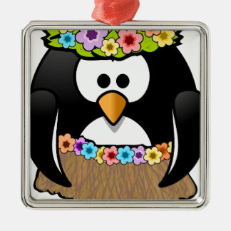 Hawaiian Penguin With flowers and grass skirt Silver-Colored Square Ornament
