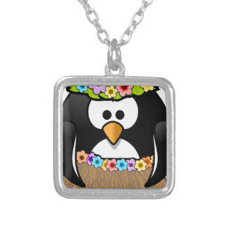 Hawaiian Penguin With flowers and grass skirt Silver Plated Necklace