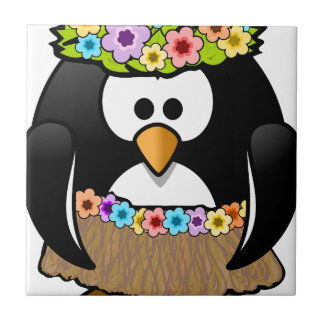 Hawaiian Penguin With flowers and grass skirt Tile