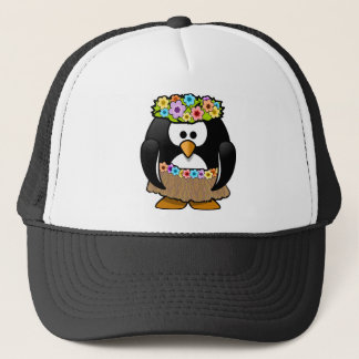 Hawaiian Penguin With flowers and grass skirt Trucker Hat