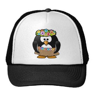 Hawaiian Penguin With flowers and grass skirt Trucker Hat