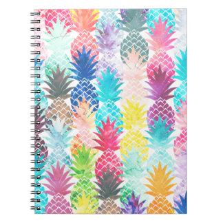 Hawaiian Pineapple Pattern Tropical Watercolor Note Books