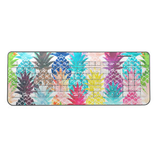 Hawaiian Pineapple Pattern Tropical Watercolor Wireless Keyboard