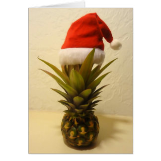 Hawaiian Pineapple Santa Hat Christmas Card