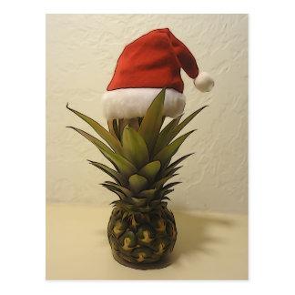 Hawaiian Pineapple Santa Hat Postcard