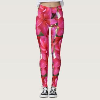 Hawaiian pink plumeria flower leggings