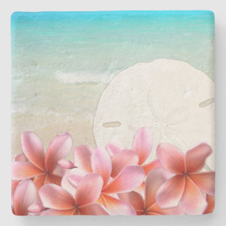 Hawaiian Plumeria and Sand Dollar Stone Coaster