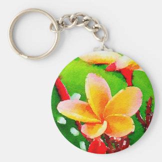 Hawaiian Plumeria Flower silver key chain