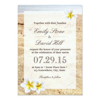"Hawaiian Plumeria Flowers Beach Wedding 5"" X 7"" Invitation Card"