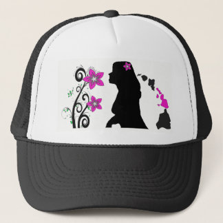 Hawaiian Plumeria Silhouette Girl Trucker Hat