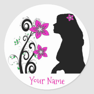 Hawaiian Plumeria Silhouette Girl with YOUR Name Classic Round Sticker