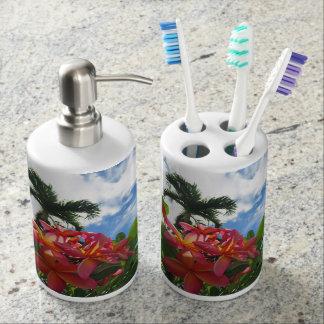 Hawaiian Plumeria Soap Dispenser And Toothbrush Holder