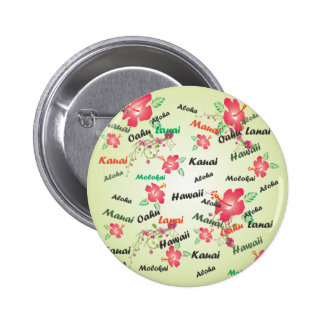 Hawaiian Print 2 Inch Round Button