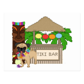 Hawaiian Pug at Tiki Bar Customizable Tees, Gifts Postcard