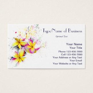Hawaiian Rainbow Plumeria Flower Impressionist Art Business Card