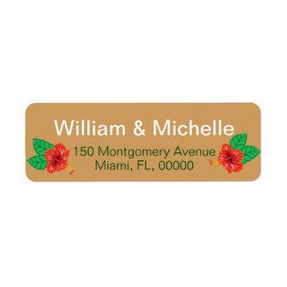 Hawaiian Red Hibiscus Luau Bride & Groom Return Address Label