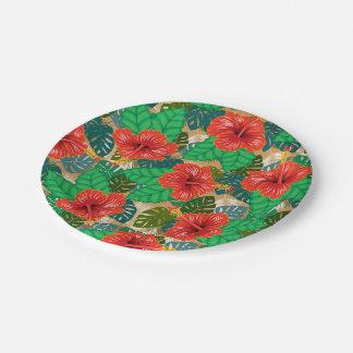 Hawaiian Red Hibiscus Luau Wedding Paper Plate