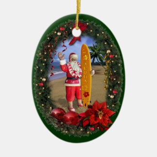 Hawaiian Santa Ceramic Ornament