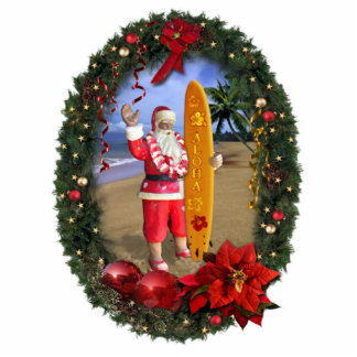 Hawaiian Santa Photo Sculpture Ornament