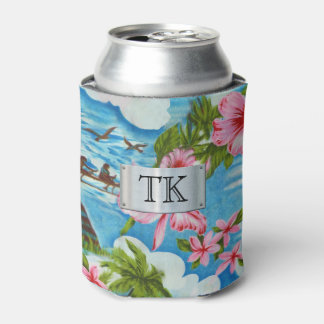 Hawaiian Scenes with your Initials Can Cooler