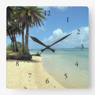 Hawaiian Scenic Ocean View Square Wall Clock