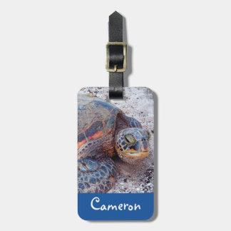 Hawaiian sea turtle close-up photo custom name luggage tag