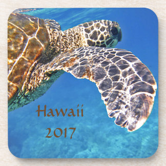 Hawaiian Sea turtle swimming Coasters