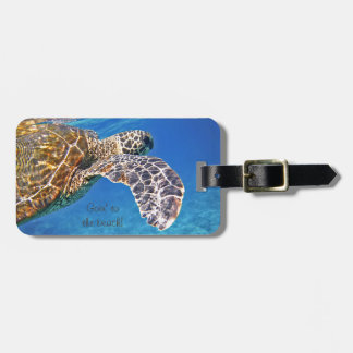 Hawaiian Sea turtle swimming Luggage Tag