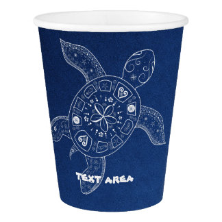 Hawaiian Sea Turtle White on Blue Beach Party Paper Cup