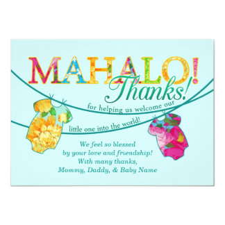 Hawaiian Shirt Onsie Luau Mahalo Thank You Card