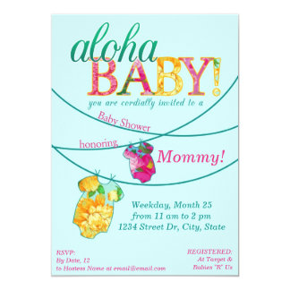 Hawaiian Shirt Onsie Luau Shower Invitation