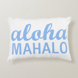 Hawaiian Sky Blue Aloha Mahalo Typography Accent Pillow