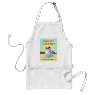 Hawaiian Snowman on Waikiki Beach Funny Apron
