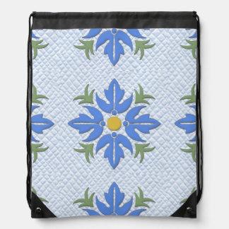 Hawaiian Style Flower Quilt Blue Drawstring Bag