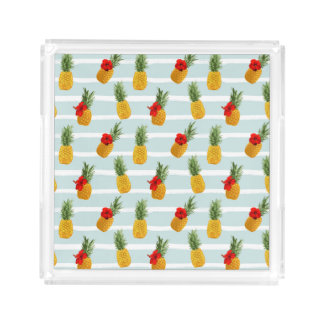 Hawaiian Summer Pineapple Seamless Pattern Acrylic Tray